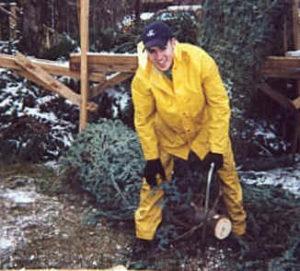 Chris Cutting Christmas Tree Trunk