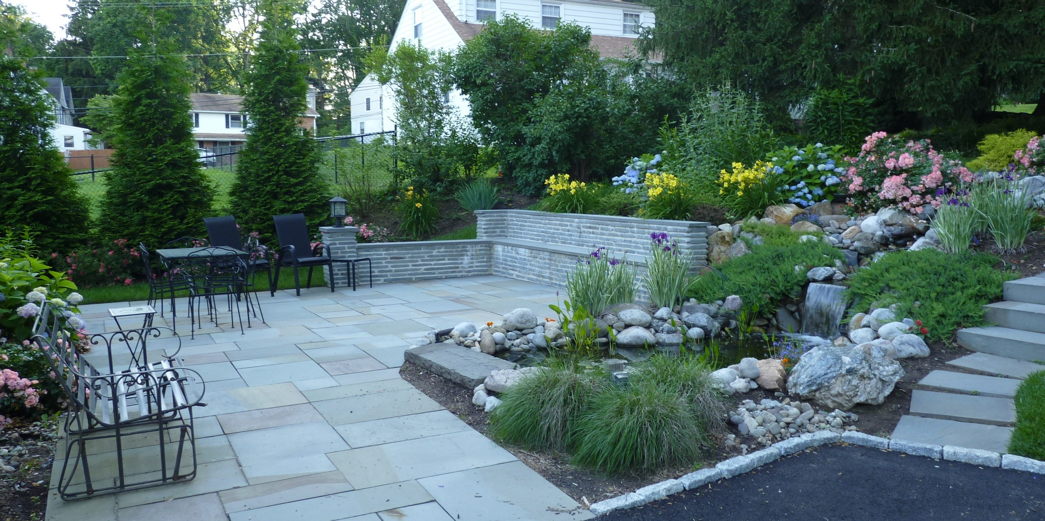Flagstone Patio – Sitting Wall – Pond and Landscaping – Newtown Square PA