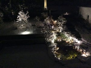 Low Voltage LED Lights on Pond and Steps in Winter