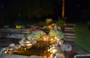 Back Yard Pond & Waterfall -with low voltage LED lights- Newtown Square, Delaware County, PA 19073