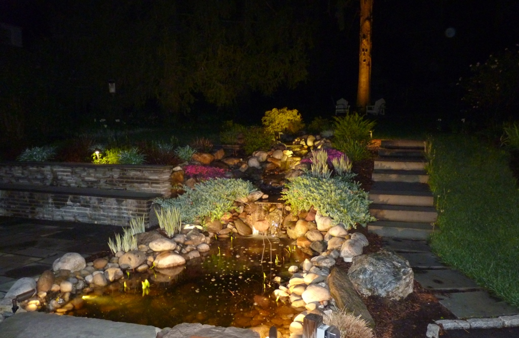 outdoor garden and landscape lighting installation newtown square