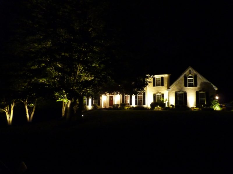 LED Lights on the front of a house in Media, PA