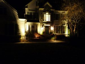 Front Entrance with Low Voltage LED Lights on Trees and House - Newtown Square, Delaware County, PA 19073