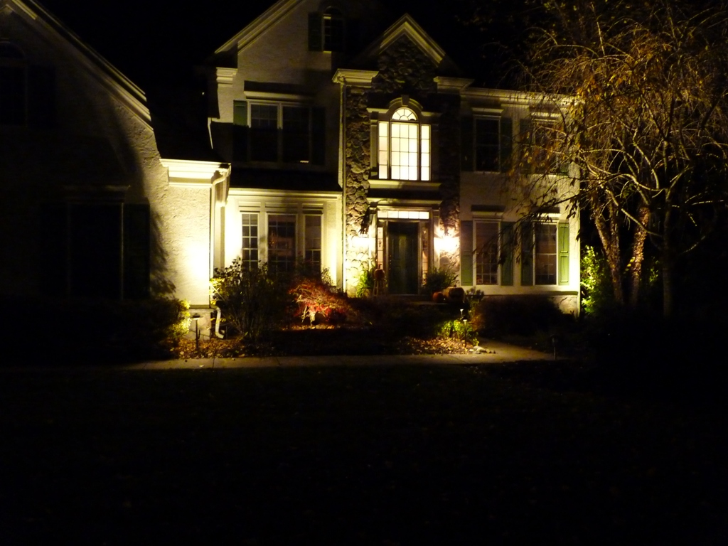 Front entrance with low voltage led lights on trees and house newtown square delaware