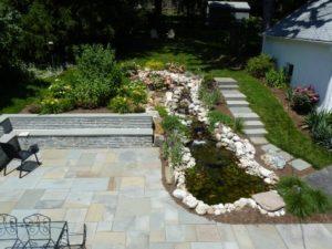 pond installed in backyard