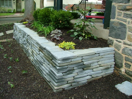 Wall Construction Using Natural Stone With Mortar Or As a
