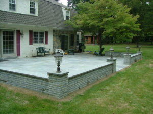 Bluestone patio with sitting Wall