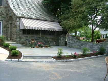 flagstone -patio-with-cobblestone-border and Landscaping Drexel Hill, PA