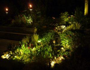 lights installed in home's garden